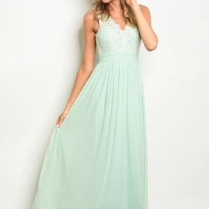 Jane Mint Green Lace and Chiffon Gown